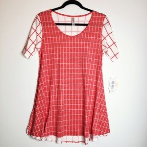 LuLaRoe XS Perfect T top coral and white checkered